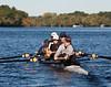 Girls varsity four on the water: Sophia, Aubree, Natalia, Mary, Kira (cox)