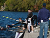 Boys second varsity four taking oars out: Grant and Charlie