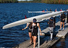 Girls varsity four coming off the dock