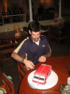 David slices the cake