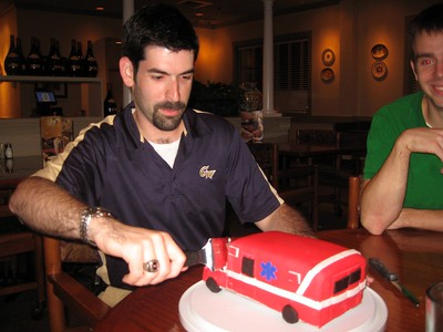David slices the cake