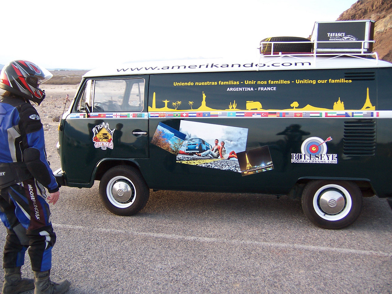 Amazing VW bus in the parking lot.