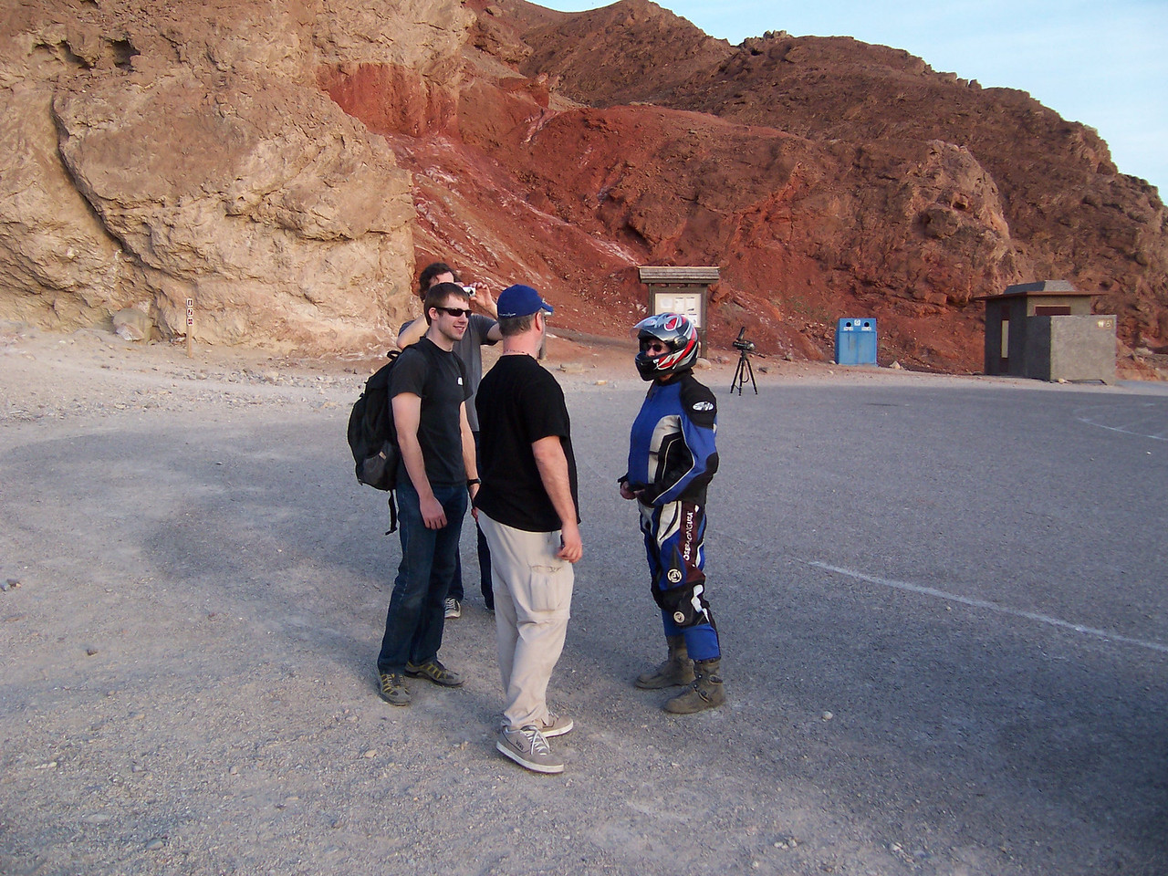 """Film crew from the """"Travel Channel"""". Sylvia getting all the info on what they were doing down here. We rode from 12:00 noon to 7:00 pm and logged 136 miles."""