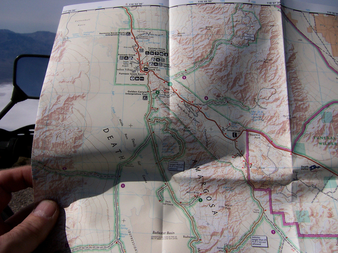 """Echo Canyon is in the upper right of the map & Twenty Mule is where it says """"One Way'. We continued Southeast to Dantes View in the lower right, then off the map on the Greenwater Valley road."""