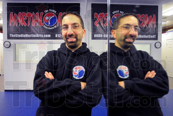 "Here to help: Steve Ellis in his dojo. ""The Studio Martial Arts""."