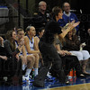 Coach: Coach Moren encourages her players during first half action against Northern Iowa at Hulman Center Thursday night.