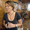 """Reception: Local film producer Cathy Spelman Rubey talks about her movie """"Holiday Baggage"""" with Tribune-Star reporter Brian Boyce prior to a reception at the Clabber Girl Museum Friday night."""