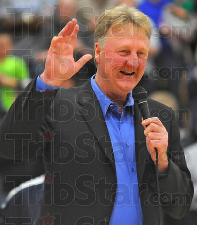 Former player: Larry Bird gave a short speech at the floor naming ceremony Saturday night in the Terre Haute North gym.