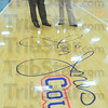 Thanks: The floor of the Terre Haute North gym was named in honor of former coach Jim Jones. With him is school principal Stacy Mason.