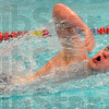 Last leg: Connor Curley swims the freestyle leg of the boy's 400 yard medley relay.