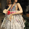 News flash: Terre haute North High School student Carson Seprodi combined newspaper with soft drink pop tabs to create this recycled dress. Her entry earned her a second place ribbon in the Ivy Tech State College recycled art show.
