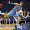 Save: Indiana State's #32, Aaron Carter saves the ball from going out of bounds during first half action against DePaul.