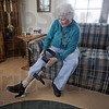 Water walker: Donna Railsback checks out her new leg brace in her northside apartment Wednesday afternoon. Whe was a regular at the Riverbank pool where she's able to walk without assistance.