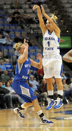 Bingo: Indiana State's #1, Brittany Schoen launches a shot during second half action against Eastern Illinois Wednesday night.