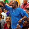 Big fan: Adrian Turner cheers a play by his nephew Jeffrey Turner in the North-South game Monday night.