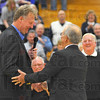 Thanks: Jim Jones thanks Lary Bird for the kind wordsat teh Naming ceremony for the Terre Haute North High School gym floor.