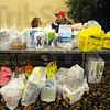 Practical help: One of the booths at the Take Back The Night rally collected items for the local CODA shelter. Other booths gave buttons in return for donations and sold t-shirts. Kendra Lindsey and Cody Leatherman chat as they watch over the donations.