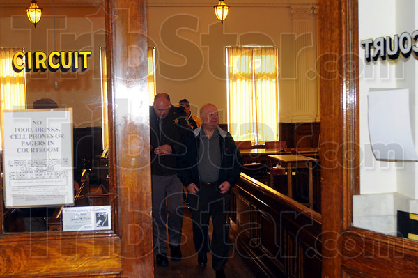 Vaughn Reeves Sr. leaves the Sullivan Circuit Court after receiving a 54-year sentence for his conviction on nine counts of class-C felony fraud. He was found guilty in November of misleading investors of Alanar Inc., a faith-based church financing entity.