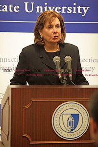 Chris Richie | Staff Alumna Carol A. Ammon speaks during a press conference at the Connecticut State University System Office in Hartford. The CCSU Arts and Sciences building is being named after Ammon, in recognition of her 8 million dollar donation for student scholarships to the school of arts and sciences. (12/10/10)