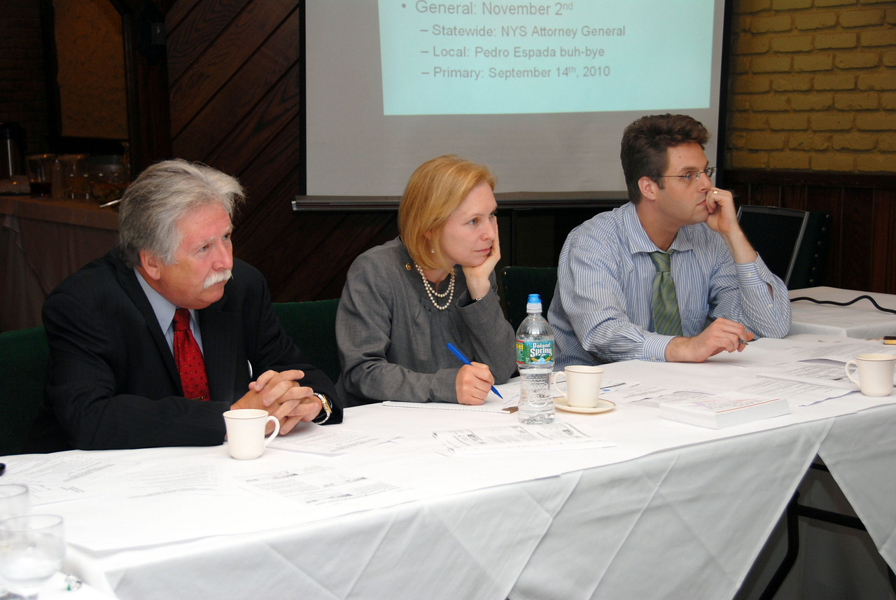 District 1 Vice President Chris Shelton, Senator Kristen Gillibrand and District 1 Political/Research Coordinator Pete Sikora (left to right).