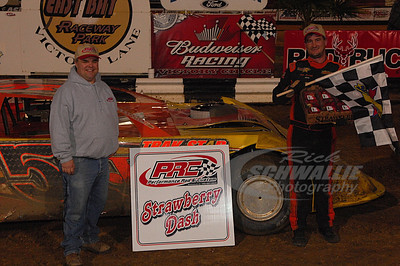 Bub McCool won the PRC Strawberry Dash on Wednesday night - with Duane Davis from PRC