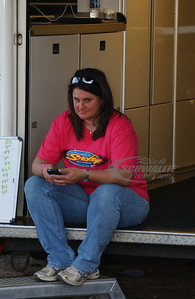 Chris Wall's wife Missy sitting around at their trailer