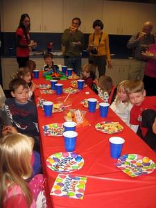 Eli's friends enjoy the party