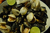 Mussels and clams in a white wine sauce.