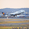 A Lufthansa 747 takes off from Boston's Logan Airport.