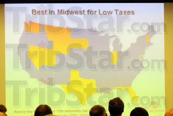 Powerpoint: Governor Mitch Daniels uses a powerpoint presentation to help illustrate the standing of our state compared to other states around the country for tax rates.