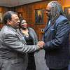 Welcome: Andrew Young chats with Jeff Lorick of Terre Haute's Human Relations Commission after a dinner on the Indiana State University campus Thursday evening. Watching is Lorick's wife Belinda.