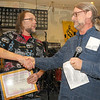 Different drummer: Allan Banfield was one of the drummers inducted into the Wabash Valley Musicians Hall of Fame Sunday. Reading his list of accomplishments was Will Cox.