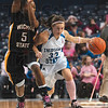 Tribune-Star/Joseph C. Garza<br /> No easy way in: Even though the Shockers were down by nearly 20 points in the second half, it still didn't stop them from playing physically like Sheena Johnson did as she guarded Indiana State's Kelsey Luna as Luna brought up the ball Sunday at Hulman Center.