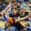Lost in the trees: Missouri State guard Casey Garrison (5) is trapped by Sycamores Taylor Whitney(23) and Kelsey Luna. The ball went out-of-bounds to ISU.