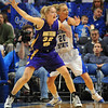 I'm open: Northern Iowa center Kim Wypiszynski (32)calls for the ball while Sycamore Moriah Hodge (20)applies defensive pressure in first half action Friday night in Hulman Center.