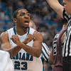 Tribune-Star/Joseph C. Garza<br /> Harry's view on the matter: Indiana State's Harry Marshall argues that a foul against teammate Dwayne Lathan was intentional by the Missouri State defender Saturday during the Sycamores' win at Hulman Center.