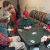 Tribune-Star/Joseph C. Garza<br /> All in good fun: Bill Potts, center, seated, kids Freida Nelson, standing, left, as he plays cards with Bob Harvey, Leonard Rostek and Ben Wernz Friday at the Wabash Valley Family Sports Center. The senior citizens meet at the center and have a good time socializing and exercising.