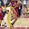 Raked: Mooresville's #22, Jama Sharp rakes across the arm of South's #15, Haley Seibert as she attempts a layup during Saturday's sectional championship game.