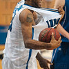 Tribune-Star/Joseph C. Garza<br /> But, ref...: Indiana State's Isiah Martin argues that he's the one who is being pulled on after he was called for a foul during the Sycamores' 76-66 win Saturday at Hulman Center.