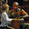 Keep the beat: Jabali Afrika drummer Justo Asikoye works with Dillon Welsh during the groups performance Wednesday afternoon at Ivy Tech State College.