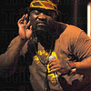 A little bit louder: Jabali Afrika lead singer Josek Asikoye asks for some audience participation during their performance Tuesday at Ivy Tech State College.