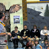Show stopper: Amazon John gets his Eurasian Eagle Owl to open its wings for the students at Ouabache Elementary School during his Silly Safari presentation Wednesday afternoon. The show was in honor of Maggie Vicory, a kindergartener there last year.