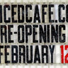 Re-opening: Detail of sign announcing the re-opening of the Juiced Cafe.