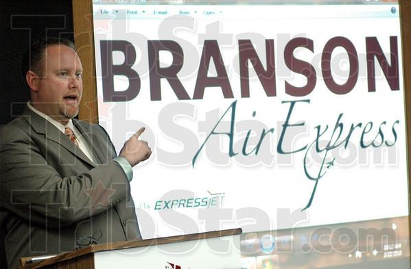 Express flight: Branson Jet Center FBO Manager Ken Palmer touts the new service to Branson, Missouri from Hulman International Airport Tuesday morning.