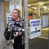 Poll check: Crawford Co. Clerk Patricia Lycan leaves the annex building in Robinson, Illinois Tuesday evening to make a check on polling places at the City Hall.