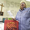 Director: Bethany House director Dottie Crippen talks with Tribune-Star reporter Sue Loughlin Tuesday afternoon about the people being served by the food give-a-way program.