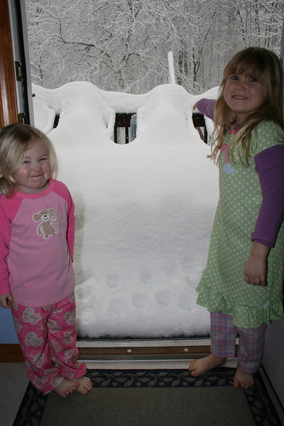 Look how high the snow was on the morning of the second big storm- 12 inches till fell later on