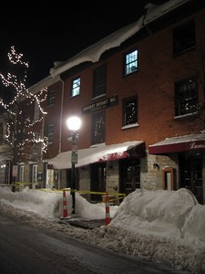 Landini Brothers Restaurant from King Street (5:36am on Thursday, Feb. 11)