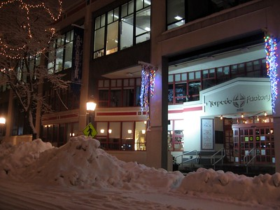 The Torpedo Factory Art Center from Union Street (9:20pm on Tuesday, Feb. 9)