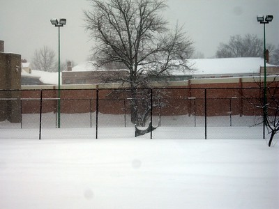 Tennis courts at the Lee Center during the peak of the blizzard conditions (1:52pm on Wednesday, Feb. 10)